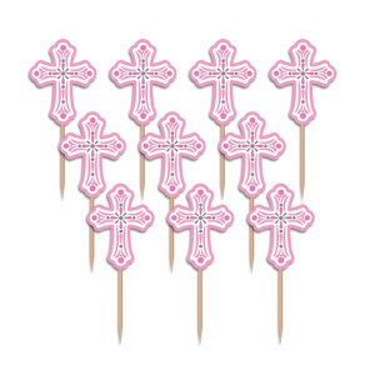 Amscan Cupcake Picks - Crosses - Pink (Pack of 36)