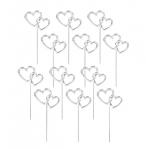 Amscan Cupcake Picks - Interlocking Hearts - Silver (Pack of 12)