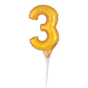 Amscan Micro Foil Balloon Cake Pick - Number 3 - Gold