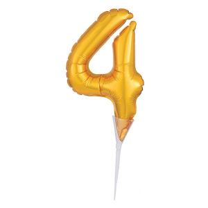 Amscan Micro Foil Balloon Cake Pick - Number 4 - Gold