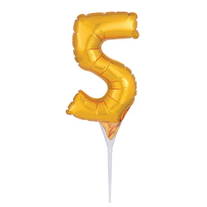Amscan Micro Foil Balloon Cake Pick - Number 5 - Gold