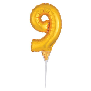 Amscan Micro Foil Balloon Cake Pick - Number 9 - Gold