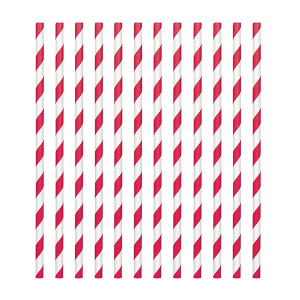 Amscan Party Straws - Candy Stripe - Apple Red (Pack of 24)