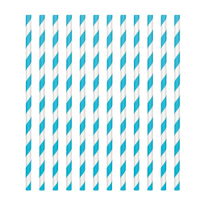 Amscan Party Straws - Candy Stripe - Caribbean Blue (Pack of 24)
