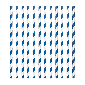 Amscan Party Straws - Candy Stripe - Royal Blue (Pack of 24)