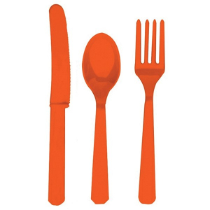 Amscan Party Cutlery - Orange (Set of 24)