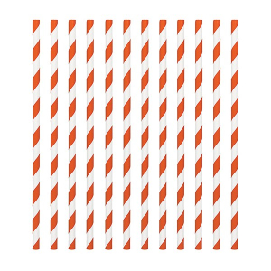 Amscan Party Straws - Candy Stripe - Orange (Pack of 24)