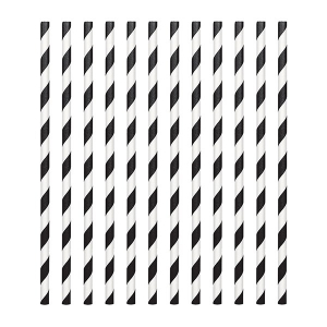 Amscan Party Straws - Candy Stripe - Black (Pack of 24)