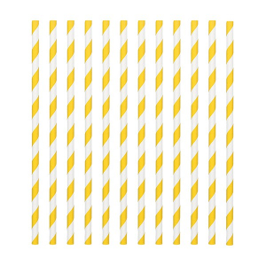Amscan Party Straws - Candy Stripe - Yellow (Pack of 24)