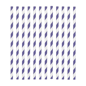 Amscan Party Straws - Candy Stripe - Purple (Pack of 24)