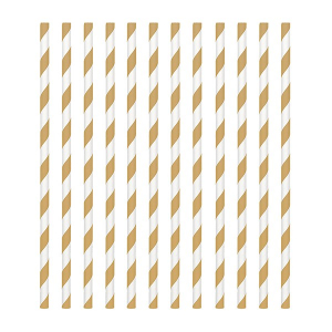 Amscan Party Straws - Candy Stripe - Gold (Pack of 24)