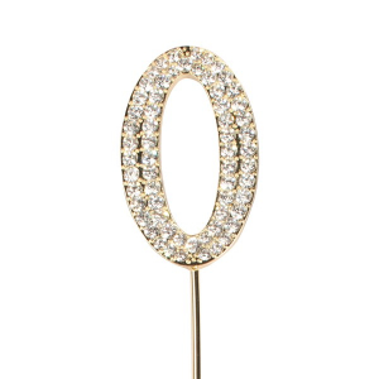 Cake Star Diamante Number Pick - 0 - Gold
