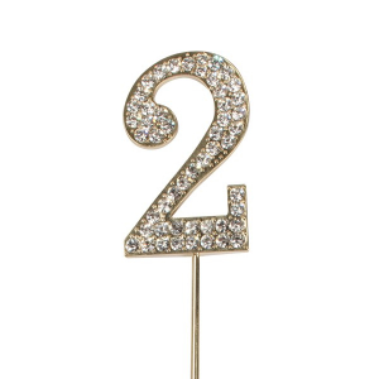 Cake Star Diamante Number Pick - 2 - Gold