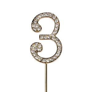 Cake Star Diamante Number Pick - 3 - Gold