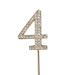 Cake Star Diamante Number Pick - 4 - Gold