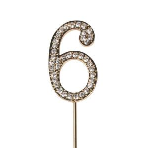 Cake Star Diamante Number Pick - 6 - Gold
