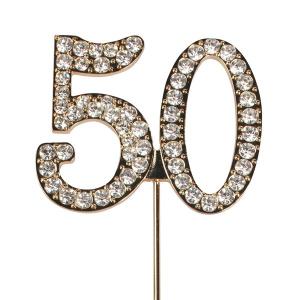 Cake Star Diamante Number Pick - 50 - Gold