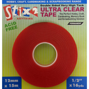 Stix2 Ultra Clear Double Sided High Tack Tape - 12mm x 15m