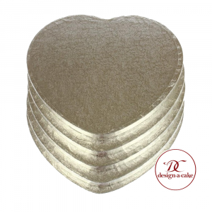 """Cake Board Drum - Heart - Silver - 10"""" (Pack of 5)"""