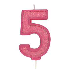 Culpitt Sparkle Numeral Candle - Pink - 5