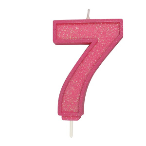 Culpitt Sparkle Numeral Candle - Pink - 7