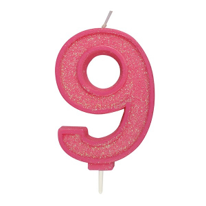 Culpitt Sparkle Numeral Candle - Pink - 9