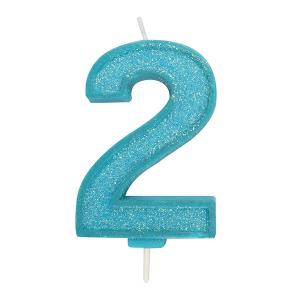 Culpitt Sparkle Numeral Candle - Blue - 2