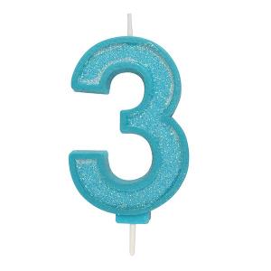 Culpitt Sparkle Numeral Candle - Blue - 3
