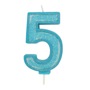 Culpitt Sparkle Numeral Candle - Blue - 5
