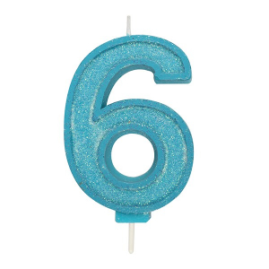 Culpitt Sparkle Numeral Candle - Blue - 6