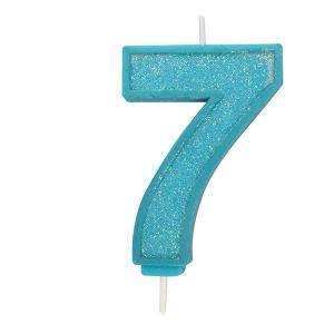 Culpitt Sparkle Numeral Candle - Blue - 7