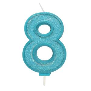 Culpitt Sparkle Numeral Candle - Blue - 8
