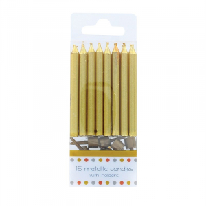 Culpitt Metallic Gold Candles With Holders (Pack of 16)