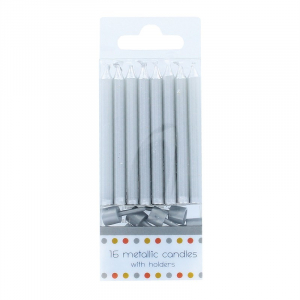 Culpitt Metallic Silver Candles With Holders (Pack of 16)