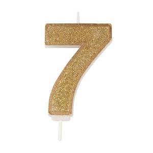Culpitt Sparkle Numeral Candle - Gold - 7