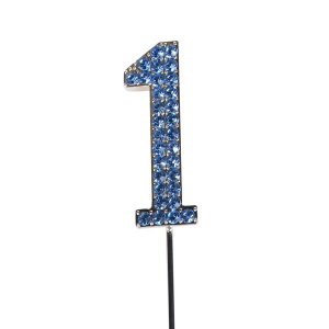 Cake Star Diamante Number Pick - 1 - Blue