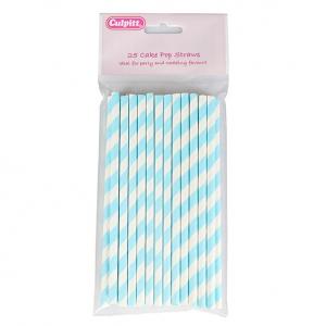 Culpitt Cake Pop Straws - Candy Stripe - Blue (Pack of 25)