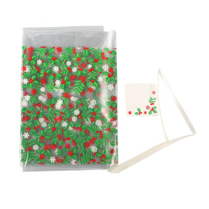 Culpitt Cake Bag with Ribbon & Gift Card - Holly Design (Pack of 20)