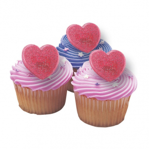 Culpitt Cake Ring Decorations - Glitter Hearts - Red (Pack of 144)
