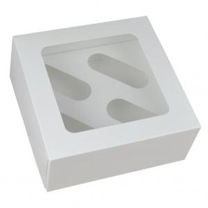 Cupcake Box / 4 Cavity - White (Pack of 25)