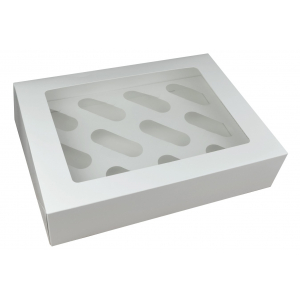 Cupcake Box / 12 Cavity - White