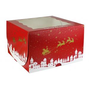 "Cake Box - Merry Christmas - Red - 10"" x 06"" Deep"