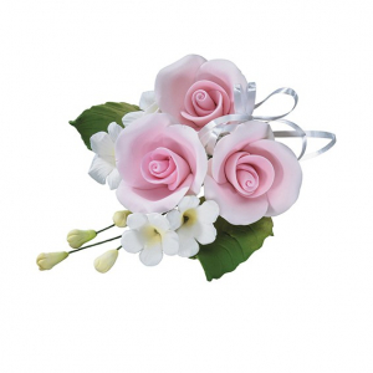 Culpitt Gum Paste Flower - Trio Rose Spray - Pink
