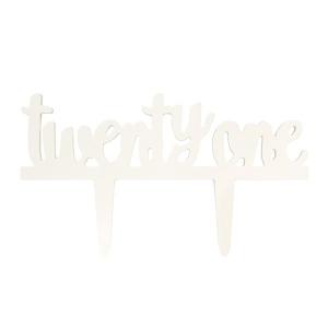 """Culpitt Gumpaste Decoration - """"Twenty One"""" Cake Topper - White"""