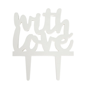 "Culpitt Gumpaste Decoration - ""With Love"" Cake Topper - White"