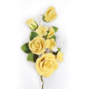 Culpitt Gum Paste Flower - Rose Spray - Yellow
