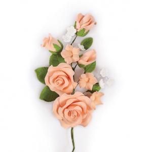 Culpitt Gum Paste Flower - Rose Spray - Peach
