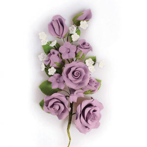Culpitt Gum Paste Flower - Rose Spray - Lilac - Large
