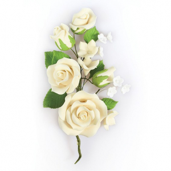 Culpitt Gum Paste Flower - Rose Spray - Ivory
