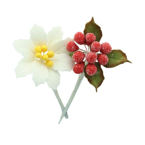 House of Cake Mini Sugar Flower Sprays - White Poinsettia & Frosted Berries (4 Piece)